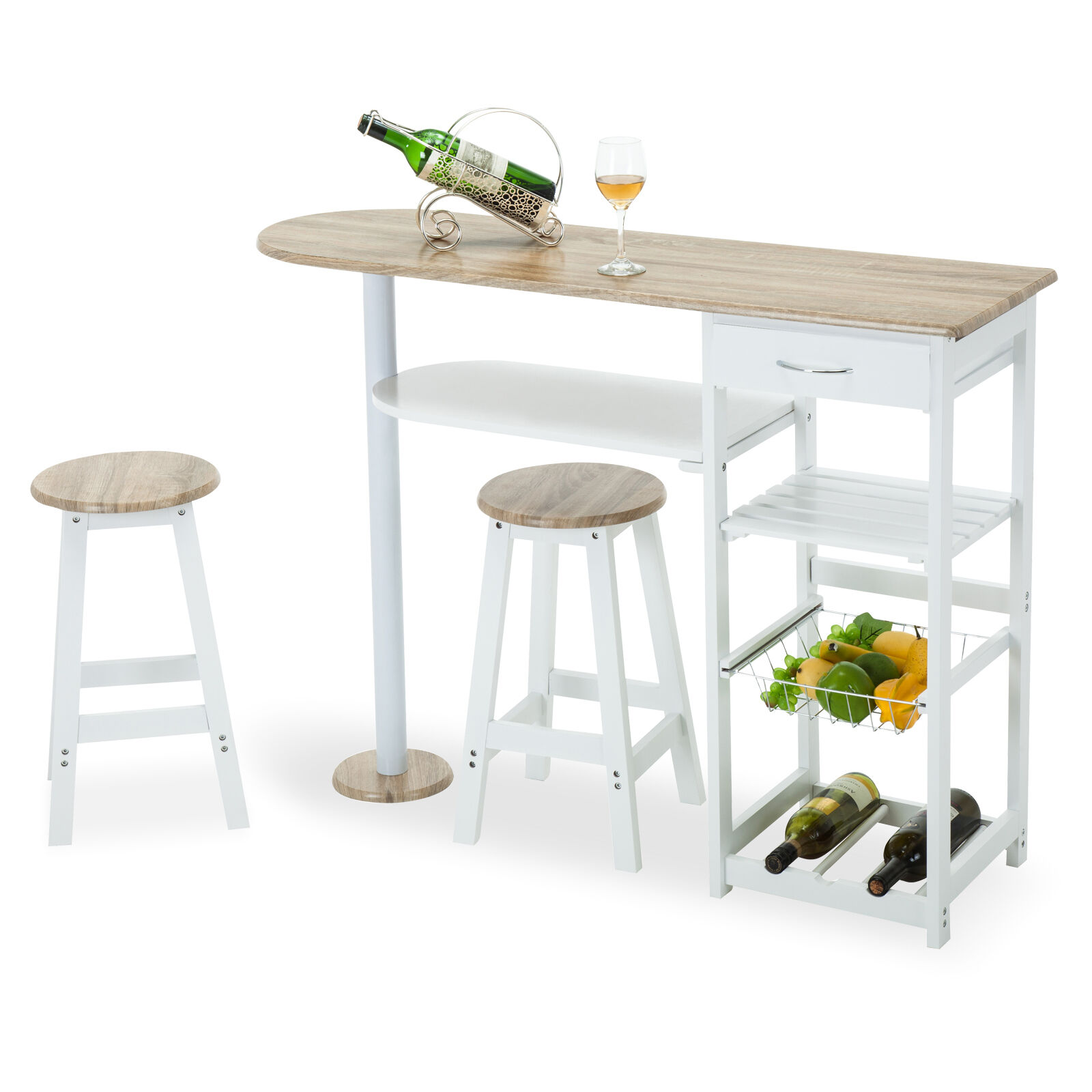 Oak White Kitchen Island Cart Trolley Dining Table Storage 2 Bar