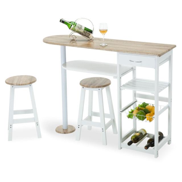 oak white kitchen island cart trolley dining table storage 2 bar stools drawer - Bar Kitchen Table