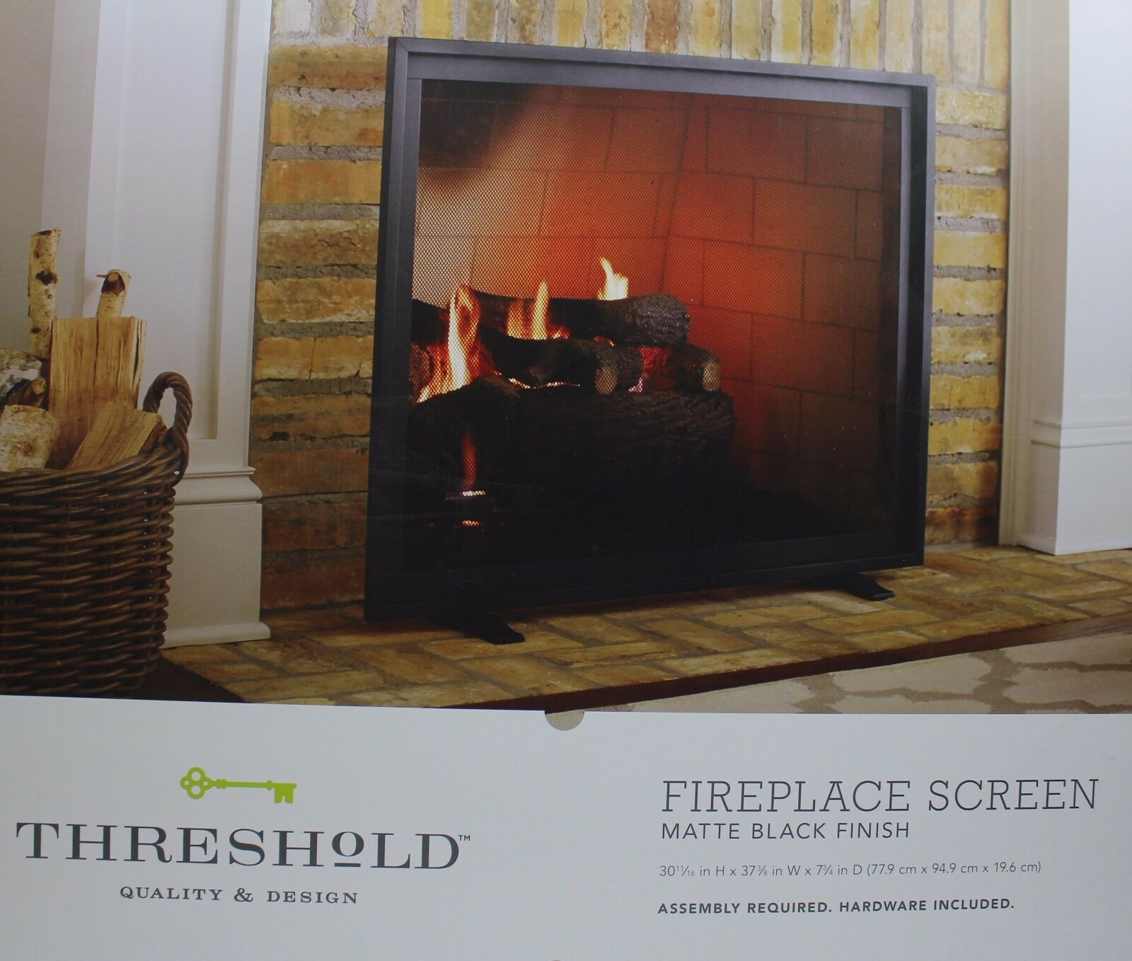 15642057 threshold flat panel fireplace screen matte black finish