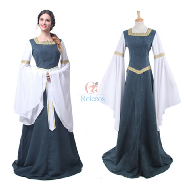 Medieval Renaissance Bell Sleeve Green Celtic Queen Gown Costume ...