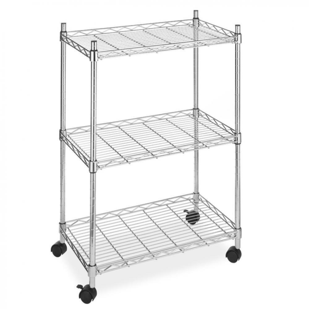 Wire Shelving Cart Unit 3 Shelves W/casters Shelf Rack Wheels Chrome ...