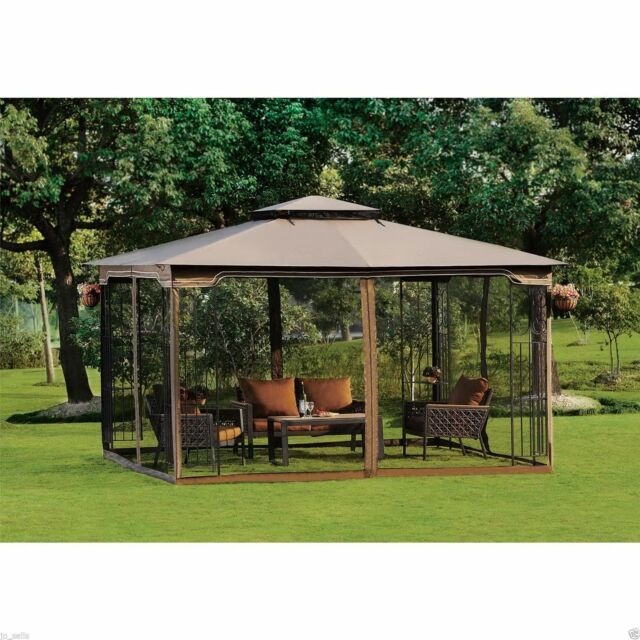 Steel Gazebo Large Pergola Heavy Duty 11 X 13 Patio Metal Frame Canopy Wedding