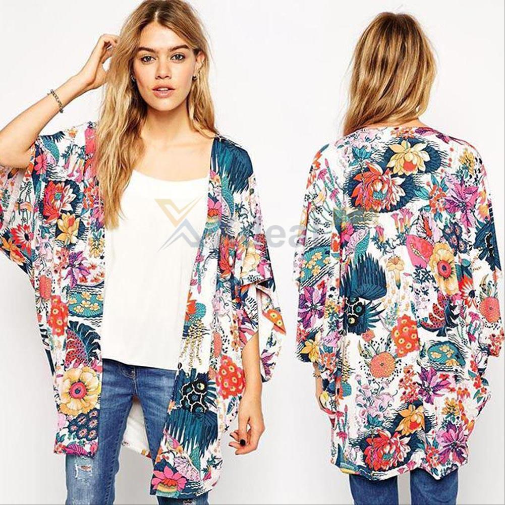 Hot Women Blouse Flower Printed Summer Chiffon Coat Shawl Kimono ...