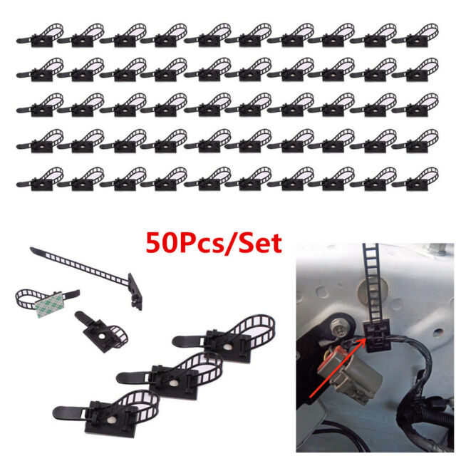 50pcs Self-adhesive Adjustable Wire Cable Ties Clamps Fix Arrange ...