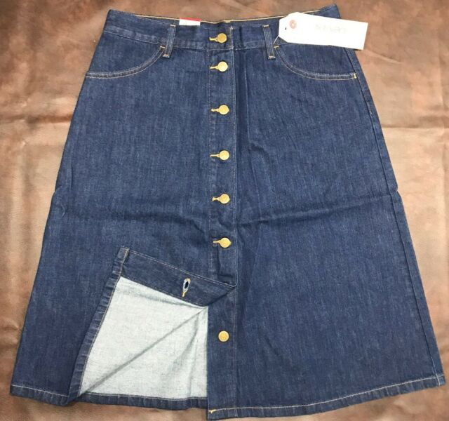 New Levis Jeans 8 Button Fly Front A Line Skirt Blue Denim SZ