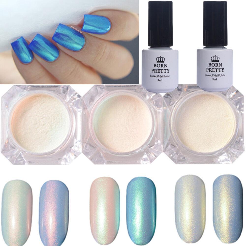 5pcs Nail Glitter Pearl Powder No-wipe Topcoat Base Coat GEL Polish ...
