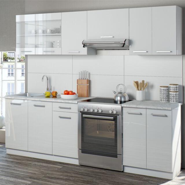 Oskar Raul 240 Cm Hochglanz Küchenzeile - Weiß | eBay