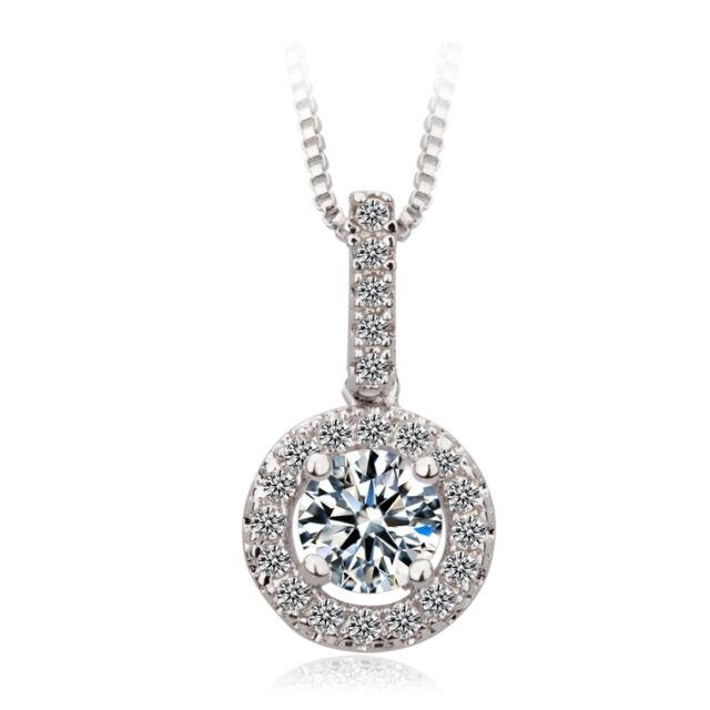 Round cut white sapphire pendant chain necklace 10k white gold round cut white sapphire pendant chain necklace 10k white gold filled jewelry aloadofball Gallery