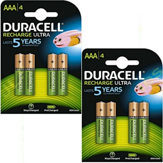 8 x AAA Duracell  Rechargeable 850 mAh  Batteries 850mAh Ultra pre Charged