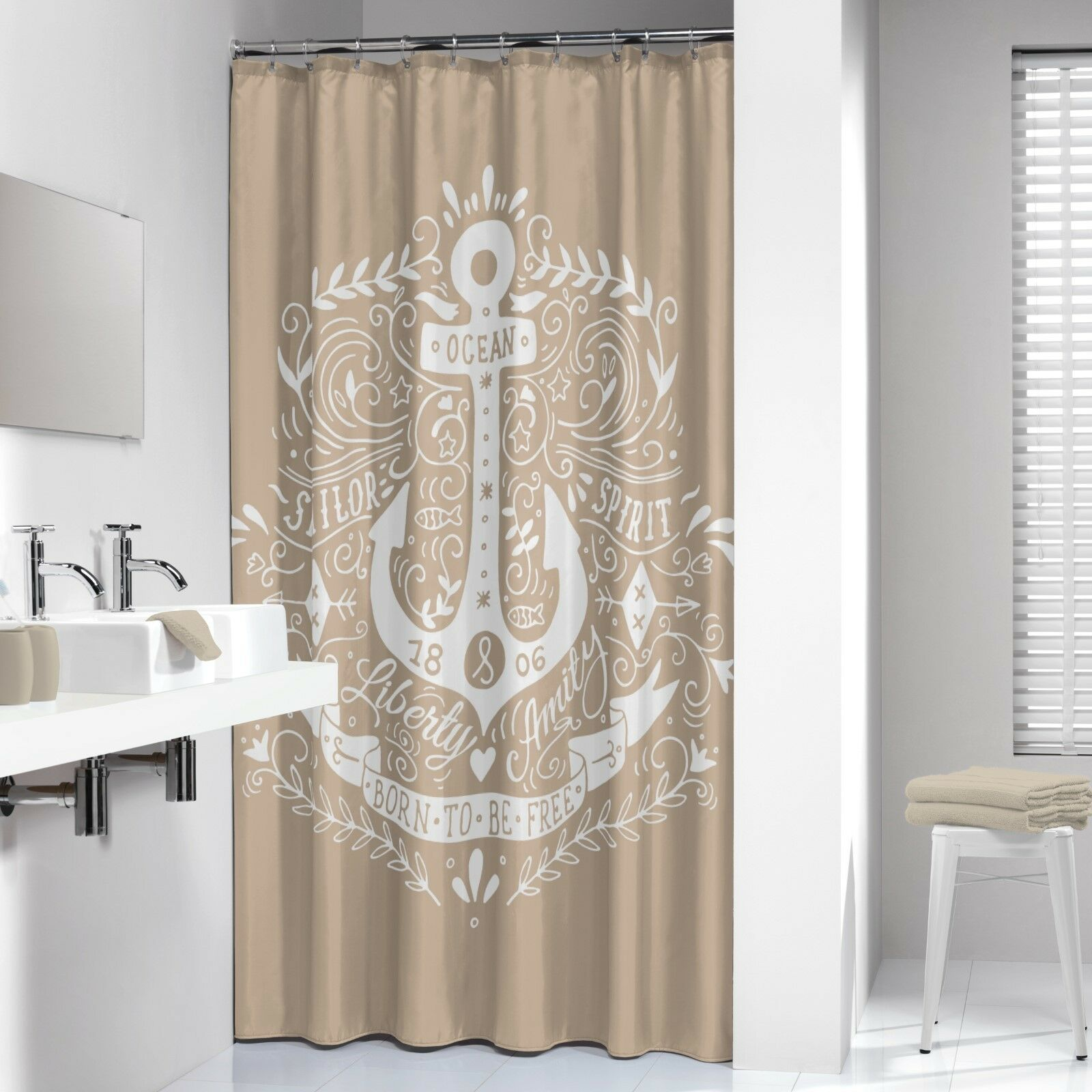 extra long shower curtain 72 x 78 inch sealskin anchor beige and