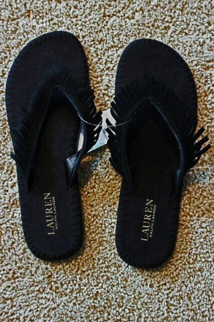 4af9ff8be Polo Ralph Lauren Womens Suede Leather Fringe Flip Flops Sandals ...