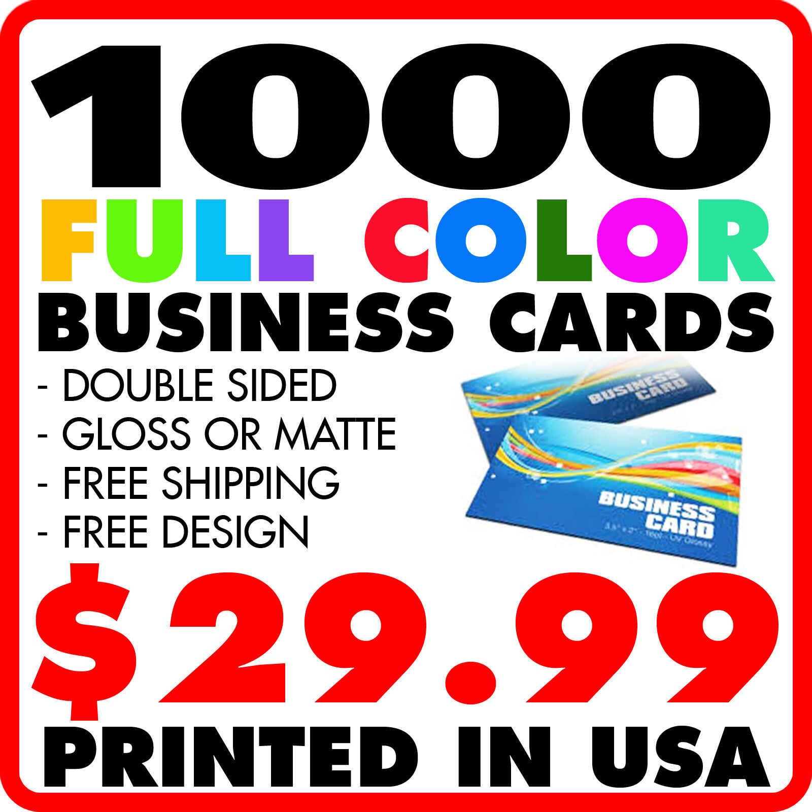 1000 custom full color business cards design ebay resntentobalflowflowcomponenttechnicalissues reheart Gallery