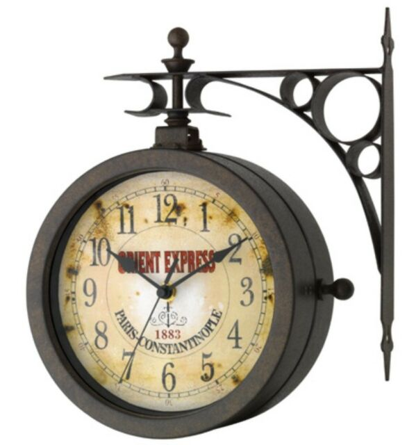 Uhr und Thermometer Antik Look Nostalgie Wanduhr drehbar Nostalgieuhr TFA 603011