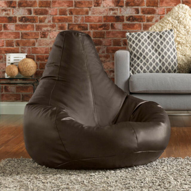 Bean Bag Bazaar Extra Large Gaming Bean Bag Recliner Chair - Faux Leather BROWN