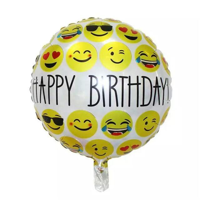 2pcs Happy Birthday Emoji Mylar Balloons Yellow Smiley Design Party