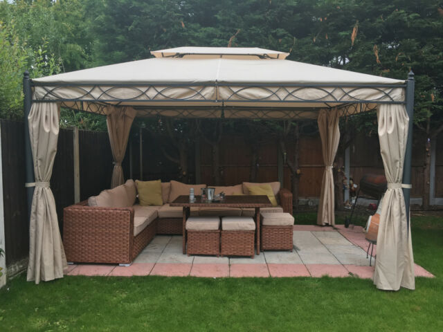metal garden gazebo pavilion pergola arbor canopy roof marquee frame 3x4m shade ebay. Black Bedroom Furniture Sets. Home Design Ideas
