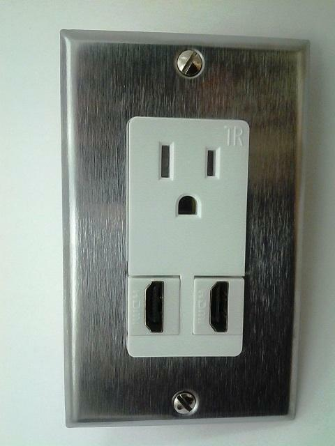 Certicable 110v Power Outlet White 2x HDMI 1.4v Stainless Steel Wall ...