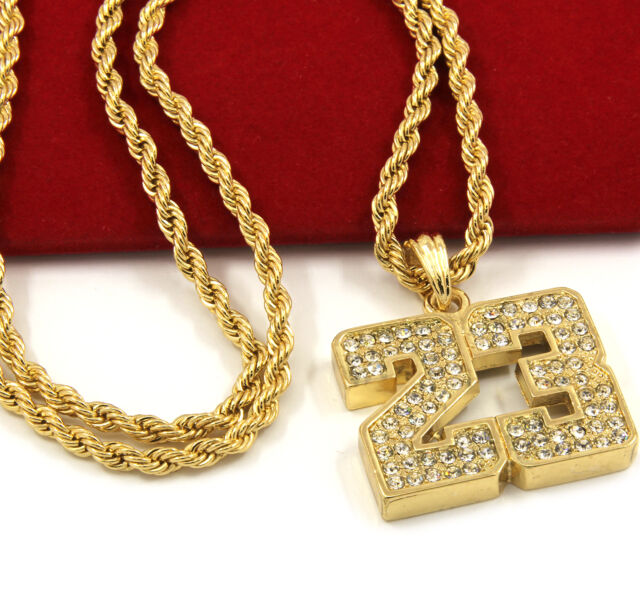 Mens gold iced out 23 basketball pendant 24 rope chain hip hop mens gold iced out 23 basketball pendant 24 rope chain hip hop necklace d472 mozeypictures Gallery
