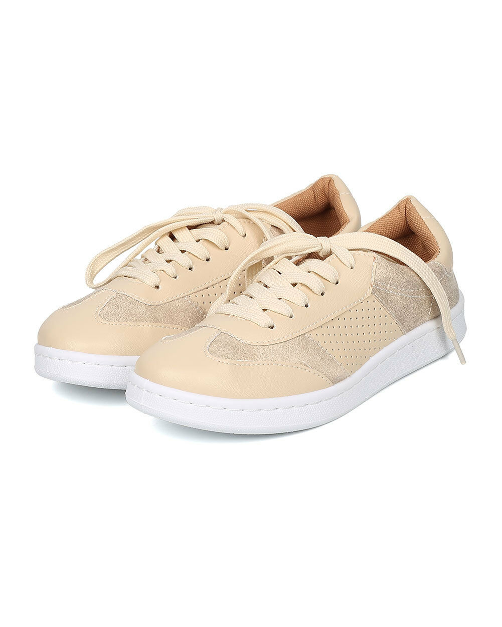 New Women Qupid Mentor-04 Leatherette Low Top Lace Up Sneaker