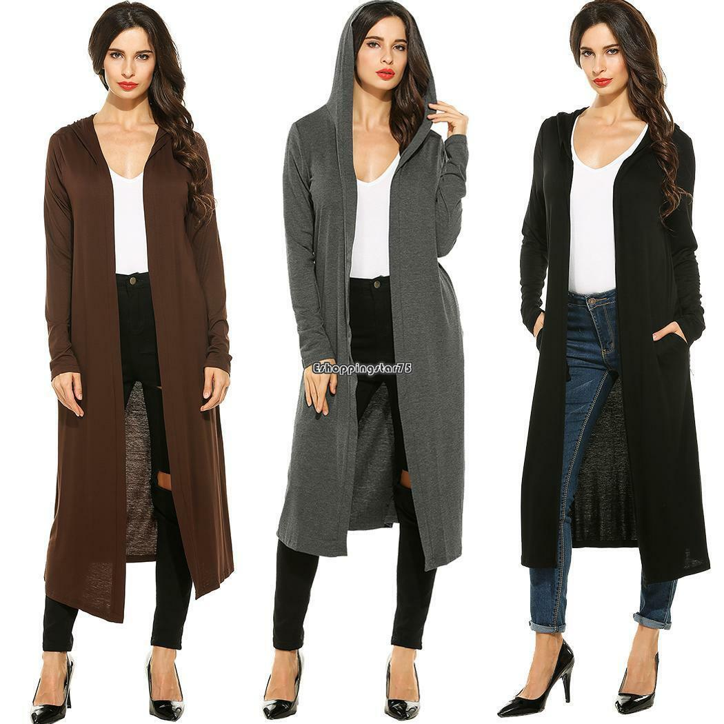 Women Long Sleeve Hooded Solid Maxi Cardigan Mid-calf Length Dress ...