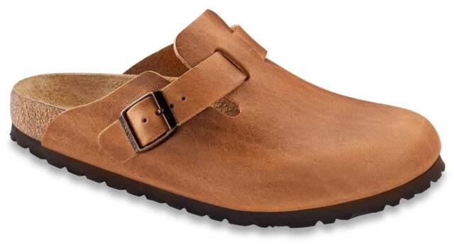Birkenstock Boston pantofole zoccoli sandali di cuoio 760893 MARRONE sottile