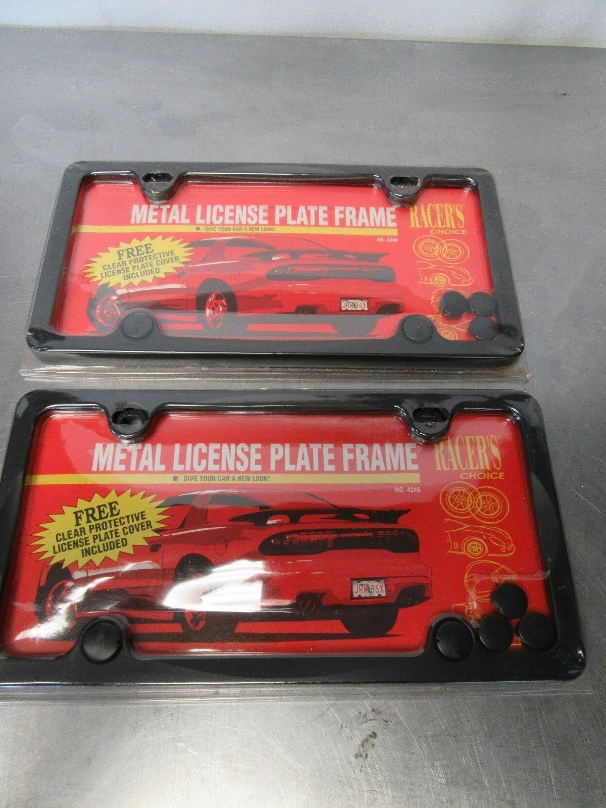 Two Racers Choice Metal License Plate Frames Protective Cover Old ...