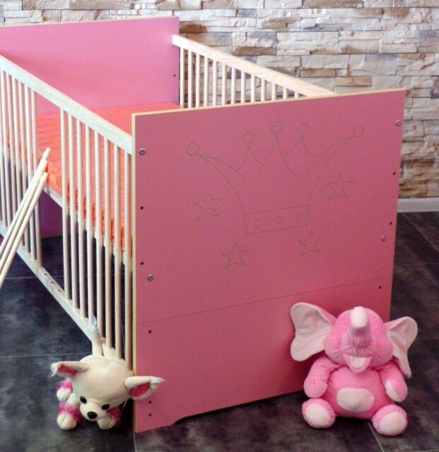 babybett juniorbett kinderbett gitterbett 70x140cm umbaubar 2in1 vollmassiv top ebay. Black Bedroom Furniture Sets. Home Design Ideas