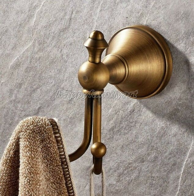 Wall Mount Antique Brass Bathroom Towel Coat Hooks Dual Robe Hook Hanger Yba146
