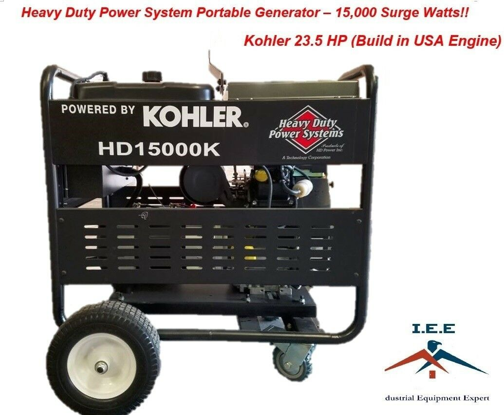 15 000 Watt Electric Start Portable Generator Kohler 23.5 HP Made in ...