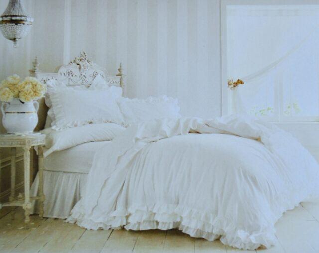 Rachel Ashwell Simply Shabby Chic White Poplin Ruffle Lace Duvet 3pc FULL QUEEN