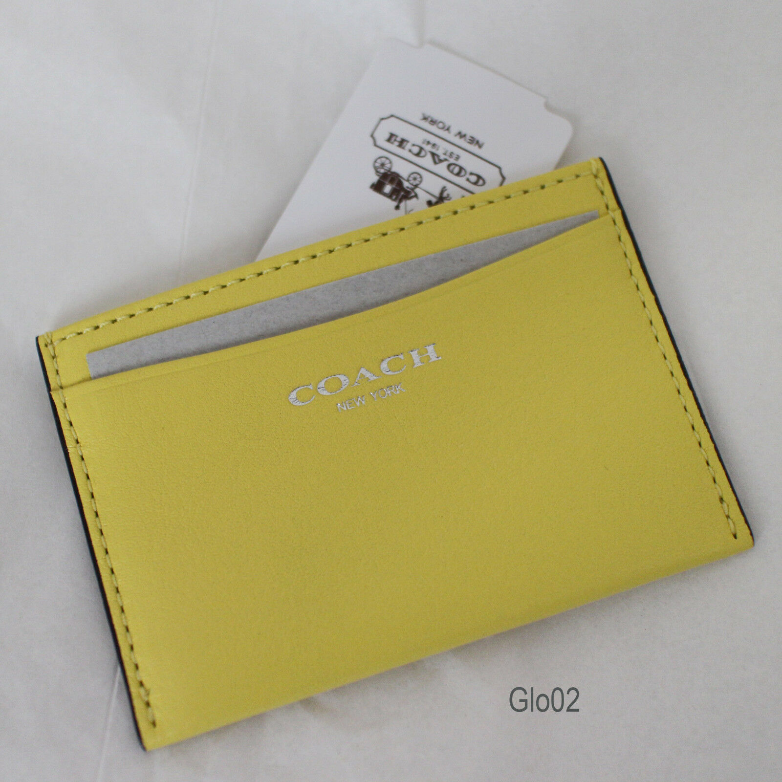 Coach 48010 Legacy Leather Business ID Credit Card Case Holder Lemon ...