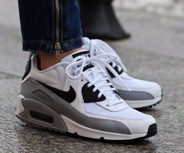 NIKE AIR MAX 90 ESSENTIAL 616730 111 BLCK-WHT -WOLF GREY WOMEN'S RUNNING  SHOES