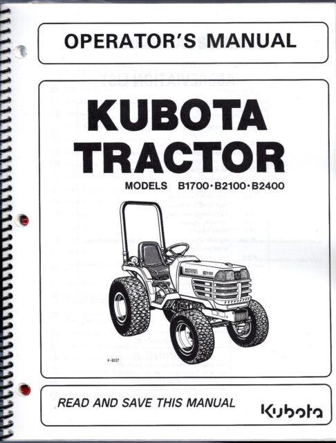 kubota kubota tractor models b7410b7510b7610b7510 narrow operators manual