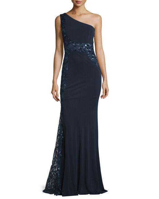 David Meister Navy Sequin Mesh One Shoulder Jersey Formal Gown 6 | eBay