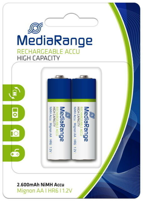 4 Mediarange Akku AA 2600mAh Nickel-Metall-Hydrid im 2er Blister