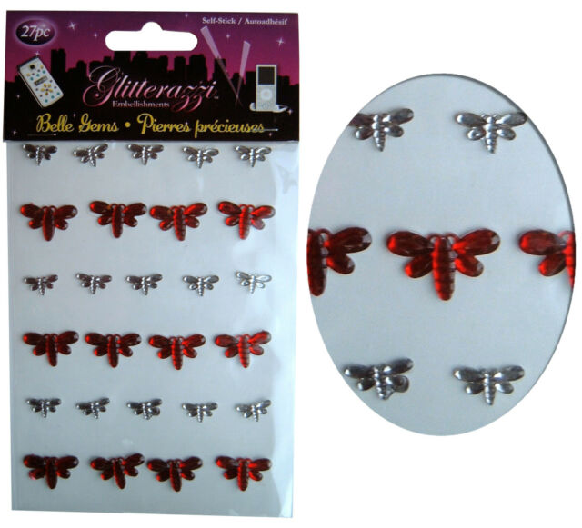 Card Making Stickers Sheet, Dragonfly x27, Diamante Gem Embellishment Red/Clear