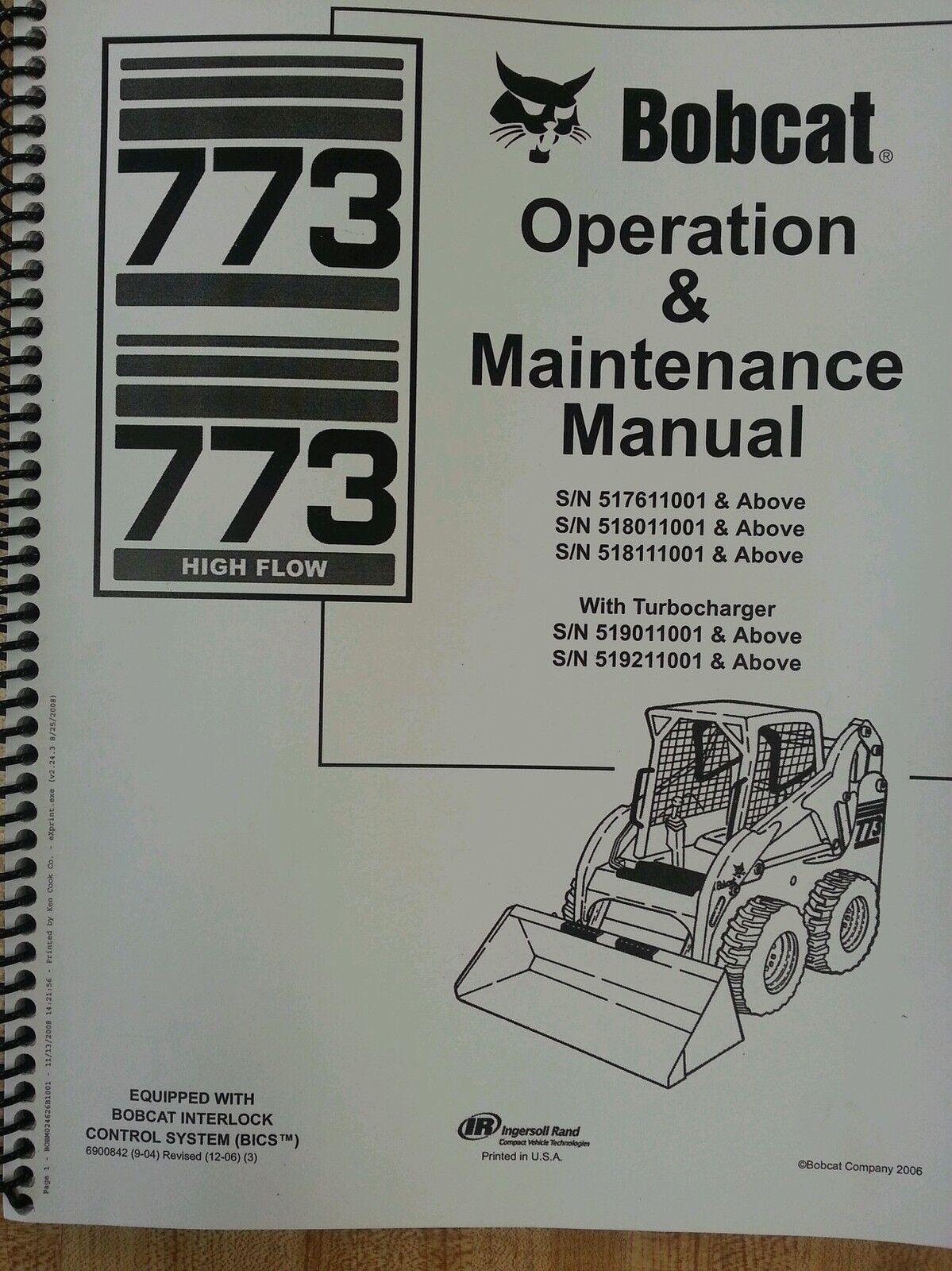 bobcat 773g skid steer loader operators operation maintenance manual rh ebay com bobcat 773g service manual free bobcat 773 repair manual