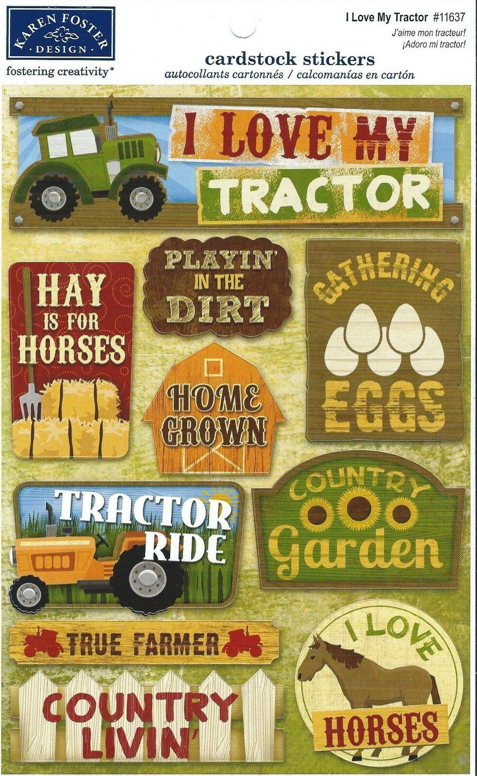 Farm Cardstock Stickers 55 Inch X 9 Inch I Love My Tractor