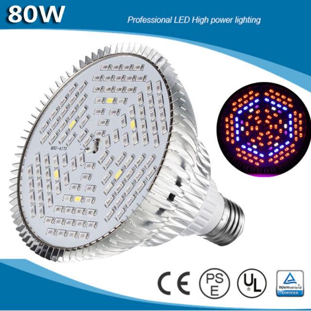 18/30/45/80w LED Grow Light E27 Lamp Bulb for Plant Hydroponic Full ...