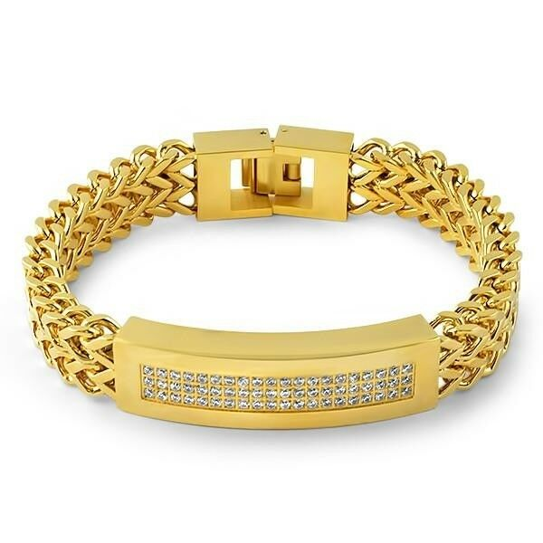 franco stainless gold mens men steel m bracelet accessories s listing