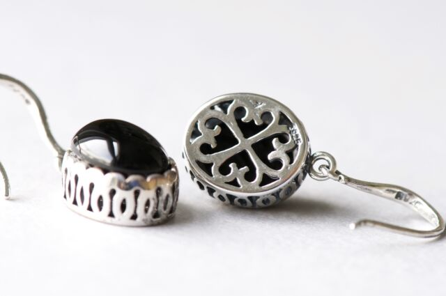 Black Onyx Stone 925 Sterling Silver Vintage Style Dangle Hook Earrings