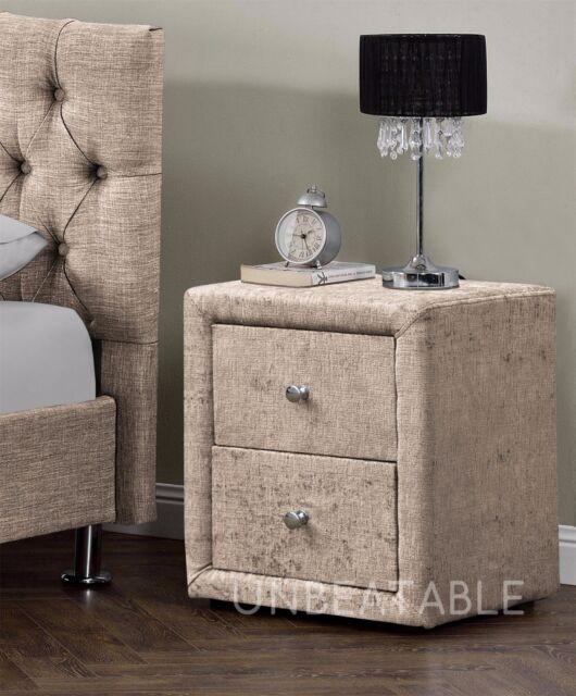 2 drawers velvet linen fabric bedside table bedroom nightstand various colours chenille mink