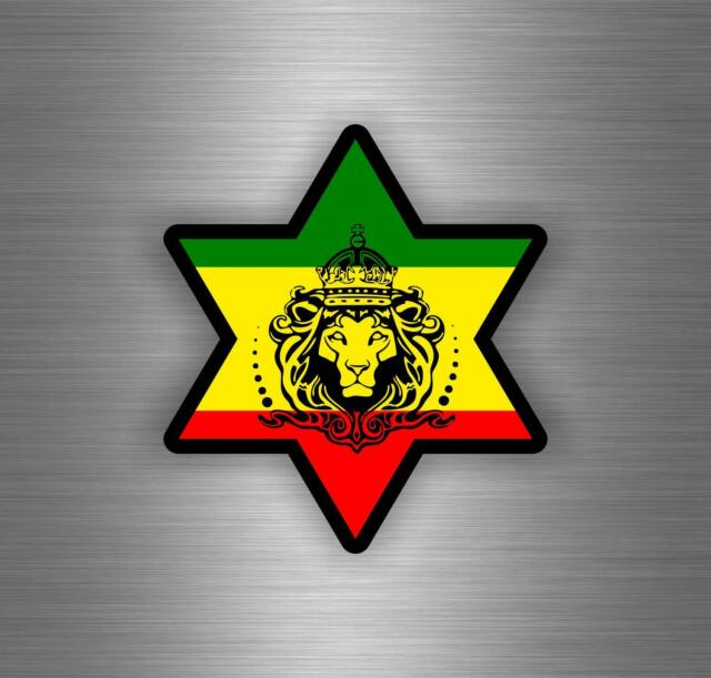 Sticker car decal rasta reggae jah macbook lion of judah one love rastafarai r18