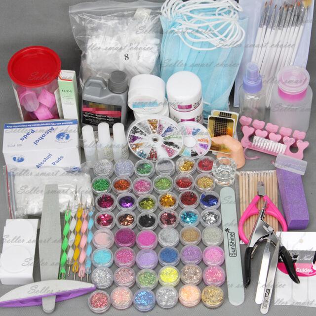 48pc Acrylic Powder Nail Art Kit Uv Gel Manicure Diy Tips Polish