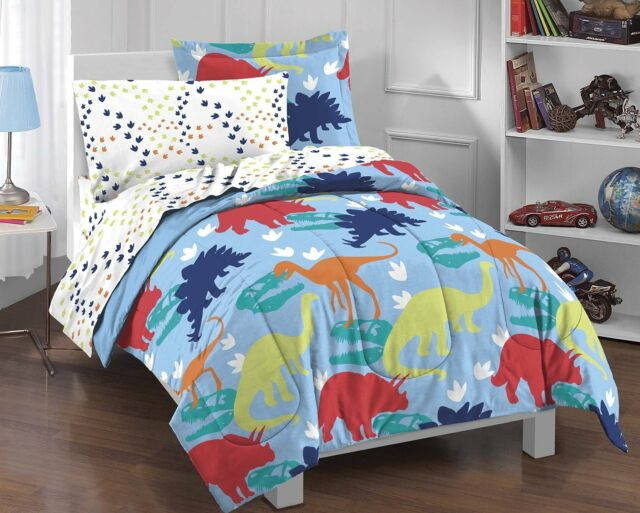 Dream Factory Dinosaur Prints Boys Comforter Set Multi Colored Twin New
