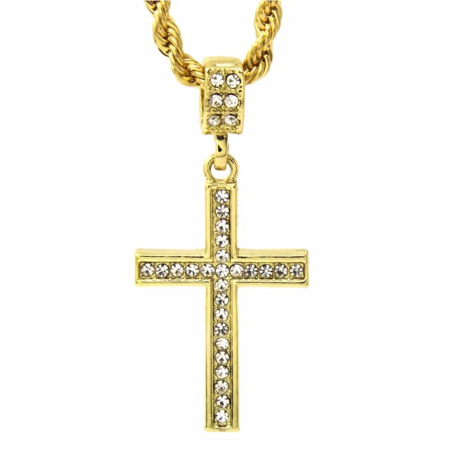 Mens 14k gold plated cz lined cross pendant with 24 inches rope mens 14k gold plated cz lined cross pendant with 24 inches rope necklace chain mozeypictures Image collections