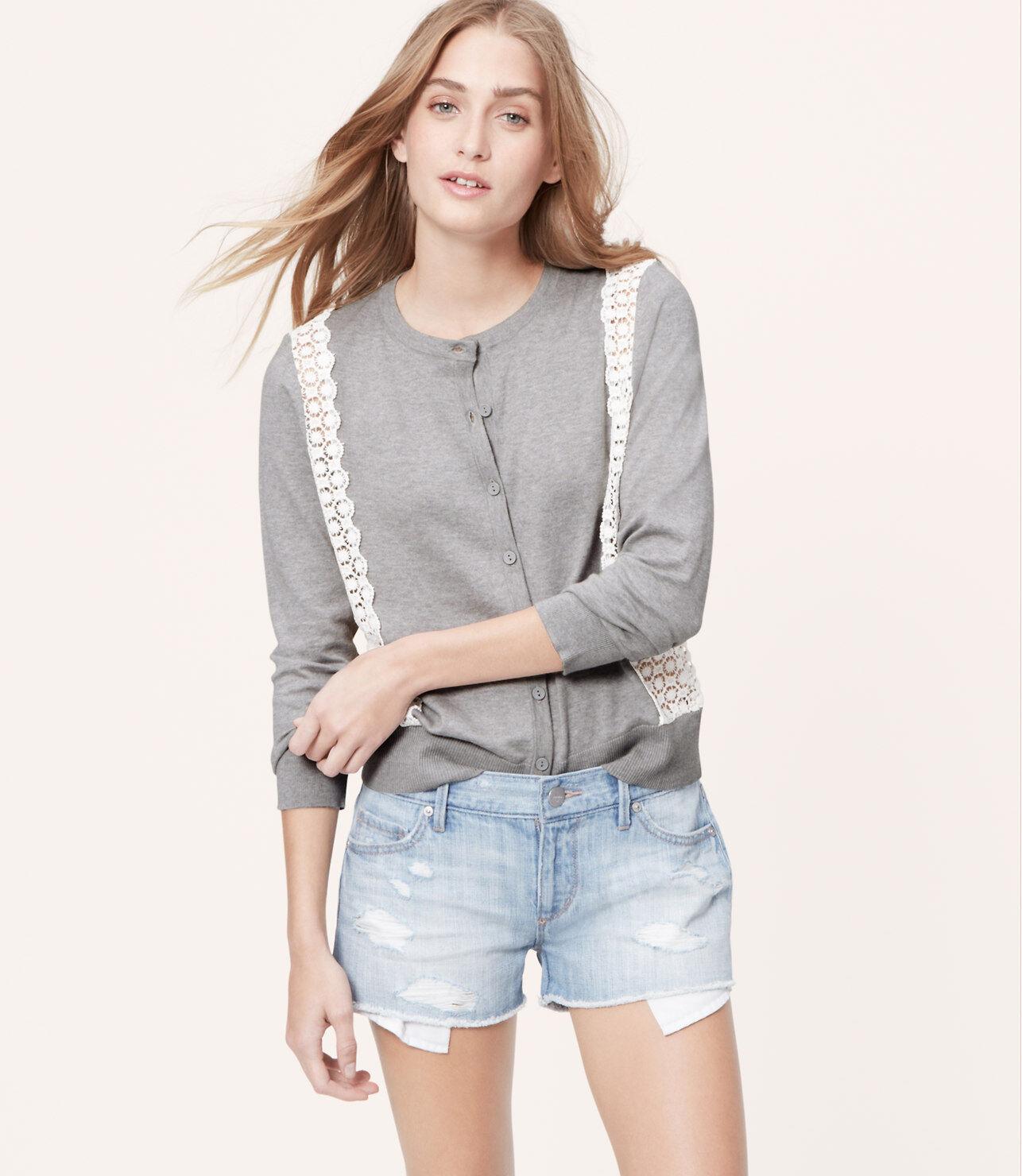 Ann Taylor Loft Lace Trim Cardigan Color White Size L | eBay