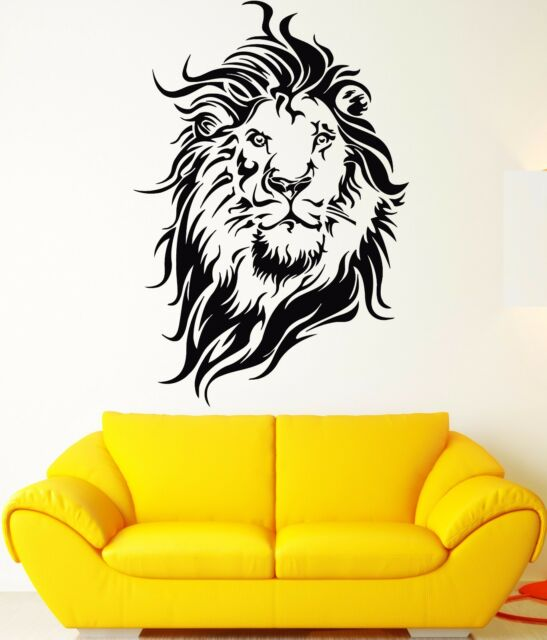 Wall Stickers Vinyl Decal Lion King of The Jungle Big Cat Head ...