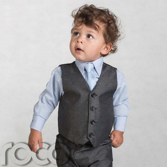 Shiny Penny Boys Charcoal & Blue Suit Page Boy Suits 3 - 4 Years ...