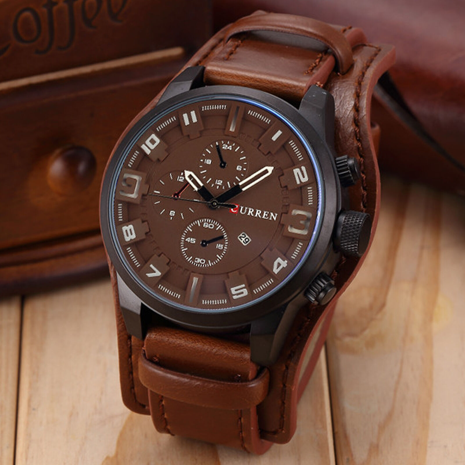 Curren watches men women new used luxury ebay fashion curren men date stainless steel leather analog quartz sport wrist watch gumiabroncs Choice Image
